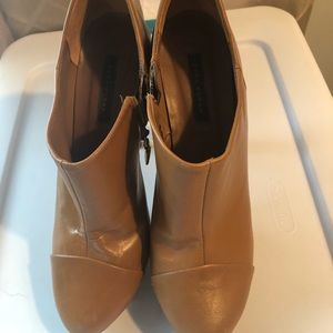 Brown leather Zara woman ankle booties